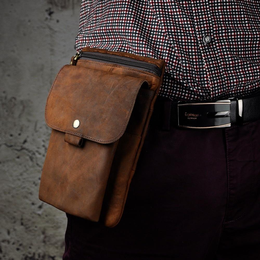 Original Leather Men Casual Multifunction Fashion Shoulder Messenger Mochila Bag Pouch Designer Fanny Waist Belt Pack Bag 8302