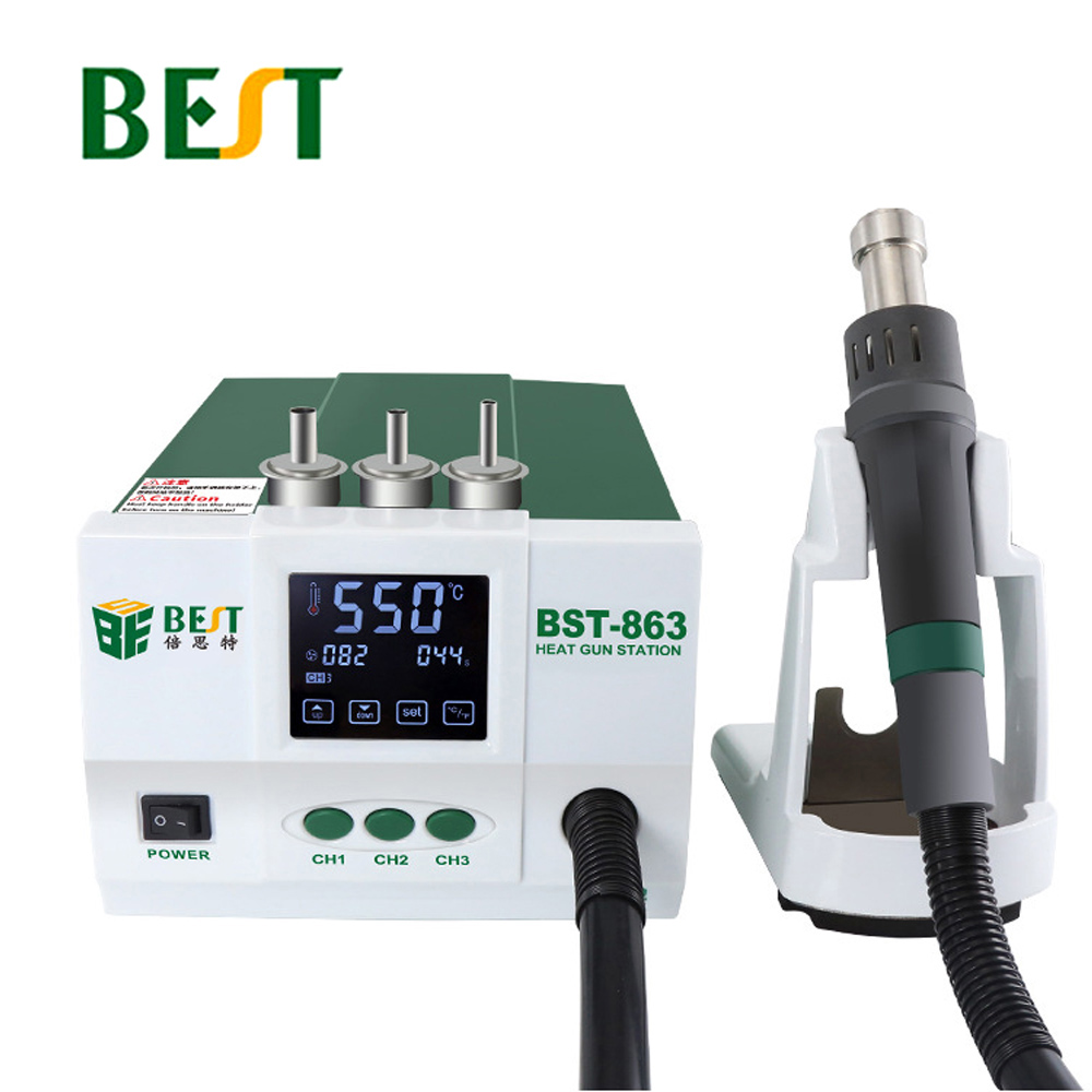 BEST-863 Lead-Free Thermostatic Heat Gun Soldering Station 1200W Intelligent LCD Digital Display Rework Station For Phone Repair