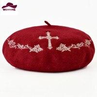 Sombreros de invierno para las mujeres Boinas Boina de lana pura de punto cruz patrón de flores Boina Sombreros nuevos Sombreros de moda Gorras Boinas Baret Mujer