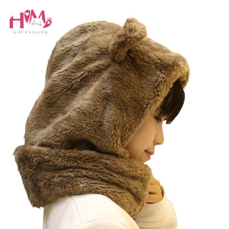 Winter Warm Headgear Feminine Thick Fabric Cute Bear Ear Fluffy Skullies Beanies Men Women Unisex White Hat Brown White Color