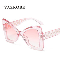 Vazrobe 2018 Butterfly Sunglasses For Women Oversized Sun Glasses For Ladies Designer Rhinestone Shades Large Face