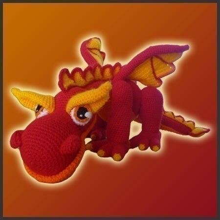 Амигуруми Крючком Огненный Дракон игрушка кукла погремушка