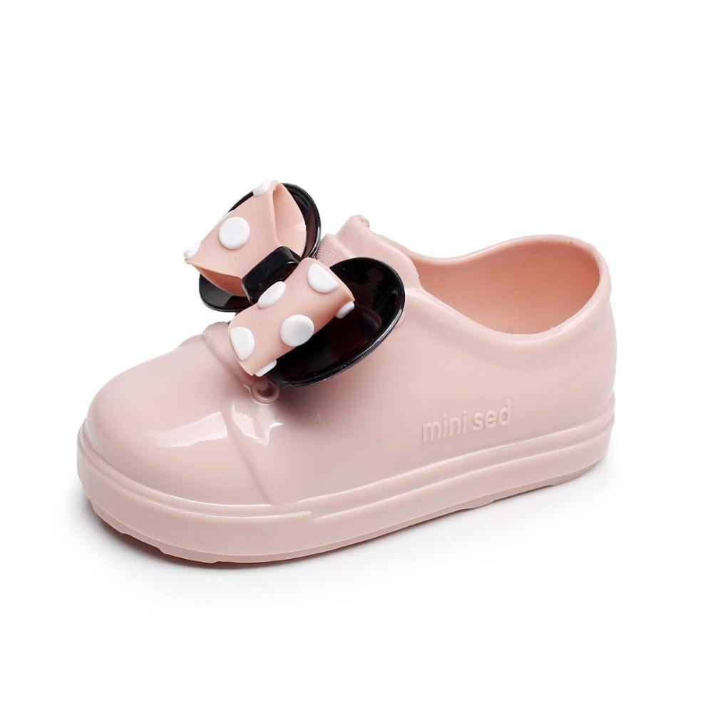 2018 Minie девушки прозрачная обувь Дети Водонепроницаемый резиновые сапоги для девочек мини обувь пляжная обувь для девочек обувь для детей