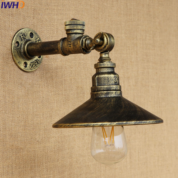 American Loft  Industrial Vintage Wall Light Retro Iron With Switch 220v Water Pipe Lamp Sconces Edison Bulb Home Lighting water pipes light source set produced 75 industrial water wall lamp retro cafe loft american iron wall zzp