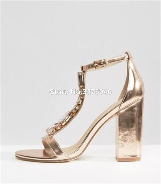 252fd2737b0 Women Fashion Open Toe T-strappy Rhinestone Chunky Heel Sandals Rose Gold  High Heel Pumps Formal Banquet Shoes Free Shipping