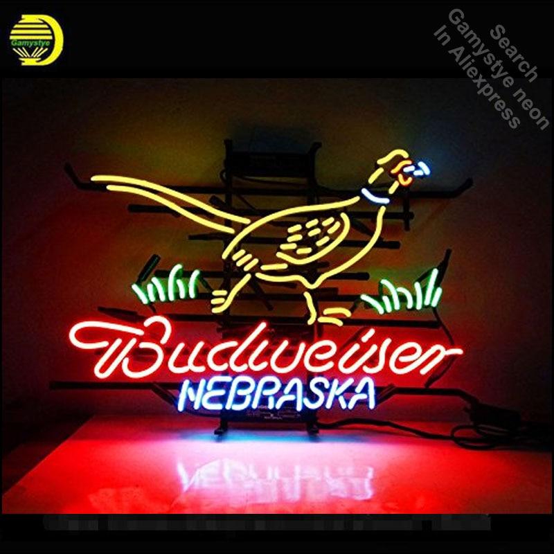 Nebraska Pheasant Hunter Budweise Neon Sign neon bulb Sign neon lights Sign glass Tube Handcraft Iconic Sign Display light up
