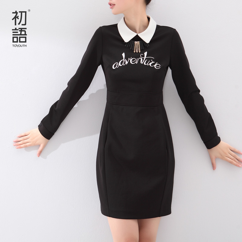 Toyouth Autumn 2017 Medium Long Female One Piece Dress Long Sleeve Letter Printed Turn Down Collar
