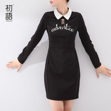 Toyouth Autumn 2017 Medium-Long Female One-Piece Dress Long-Sleeve Letter Printed Turn-Down Collar Ladies Dress