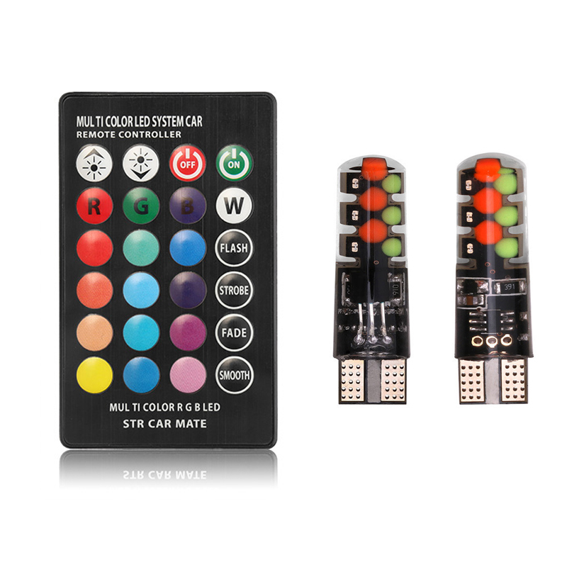 2 Pieces T10 W5W LED RGB Car Lights LED Bulbs With Remote Control 194 168 501 Strobe Led Lamp Auto Interior Reading Lights