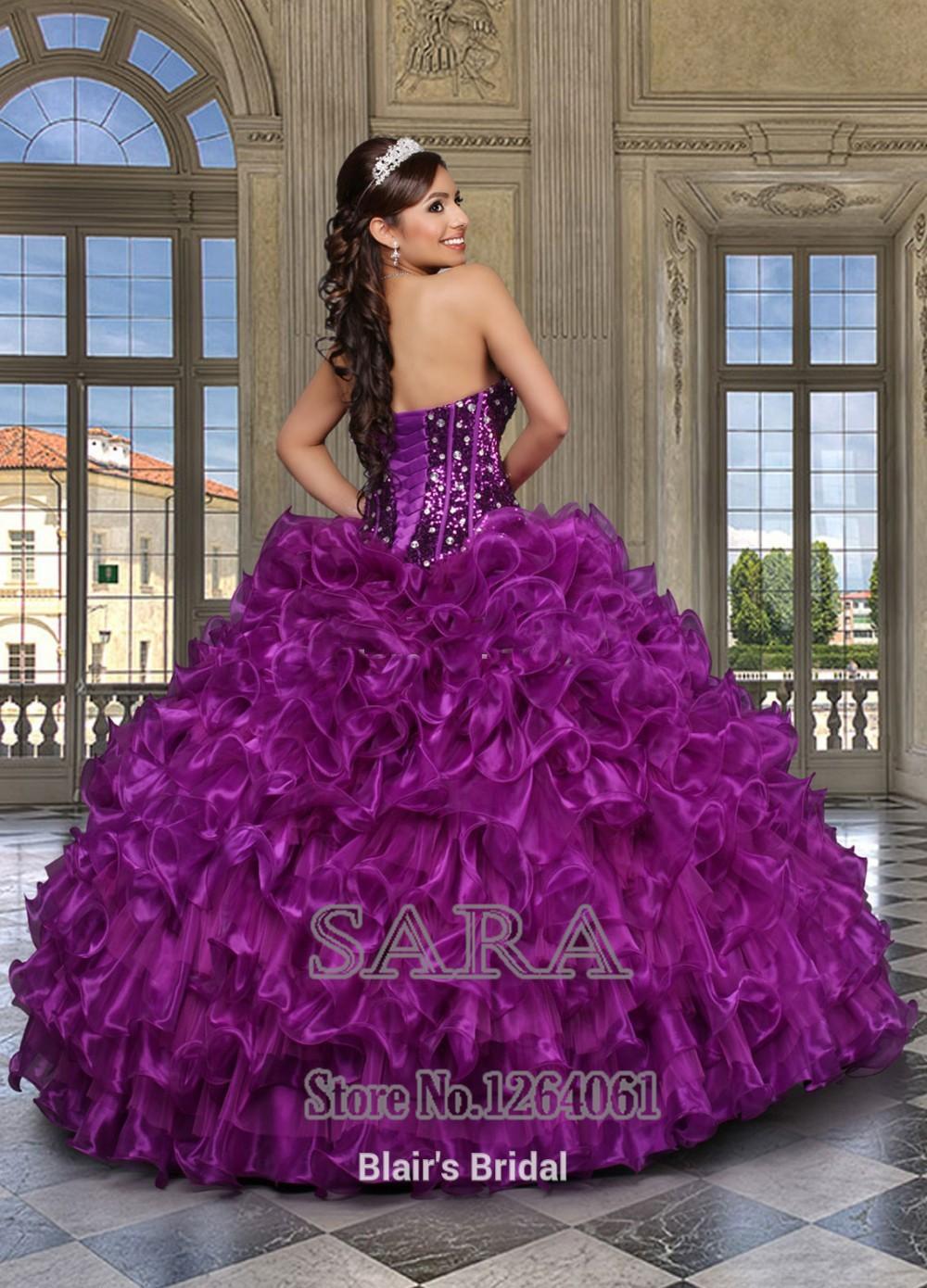 328382f8b Nueva Unique 2014 Deep Purple Quinceanera vestidos 15 años con ...