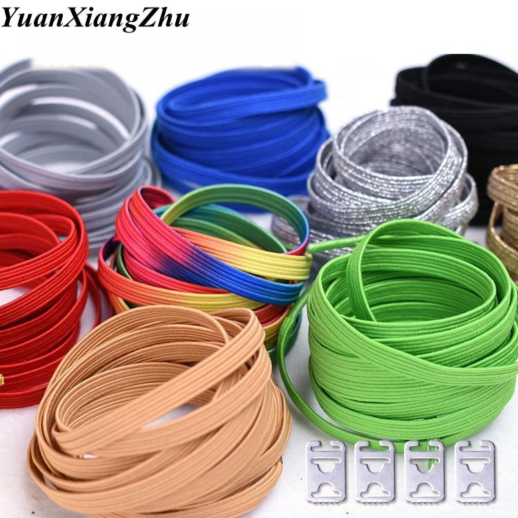 1Pair Elastic Rubber Shoelaces Stretching Locking No Tie Lazy Shoe Laces Sneaker Children Unisex Shoelaces Safe Shoelace 24color