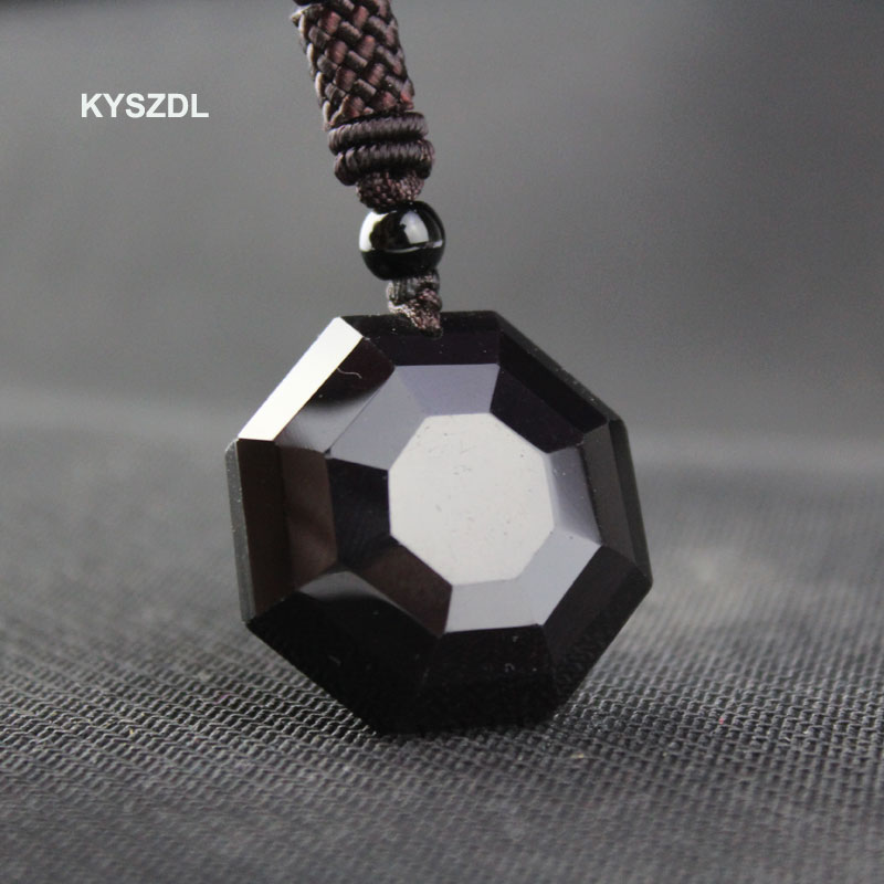 KYSZDL Dropshipping natural obsidian carved polyhedron pendant Lucky Love Crystal Jewelry With Free Rope for men and women gift