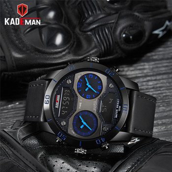 KADEMAN Fashion Men Watch Dual Display Digital Analog Waterproof Chronograph Wristwatch Fashion Sport Military Relogio Masculino