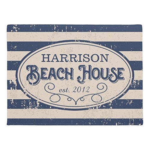 """Ailovyo Vintage Beach House Personalized Navy <font><b>Blue</b></font> Non-Slip Entry Way Outdoor Indoor Decor Rug Doormats (23.6\""""X15.7\"""")"""