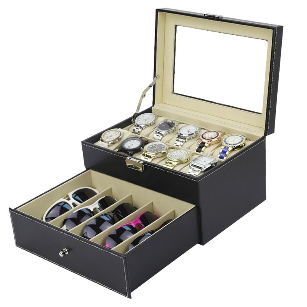 Luxury Double Layer 10+5 Grids Watches Sunglasses Display Jewelry Organizer Watch Glasses Display Storage Box PU Leather CaketLuxury Double Layer 10+5 Grids Watches Sunglasses Display Jewelry Organizer Watch Glasses Display Storage Box PU Leather Caket