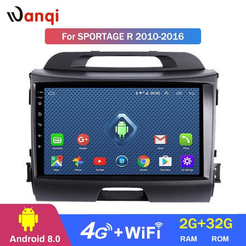 4G Lte tout Netcom 9 pouces android 8.0 pour KIA Sportage R 2010-2016 Auto véhicule voiture multimédia GPS système de navigation