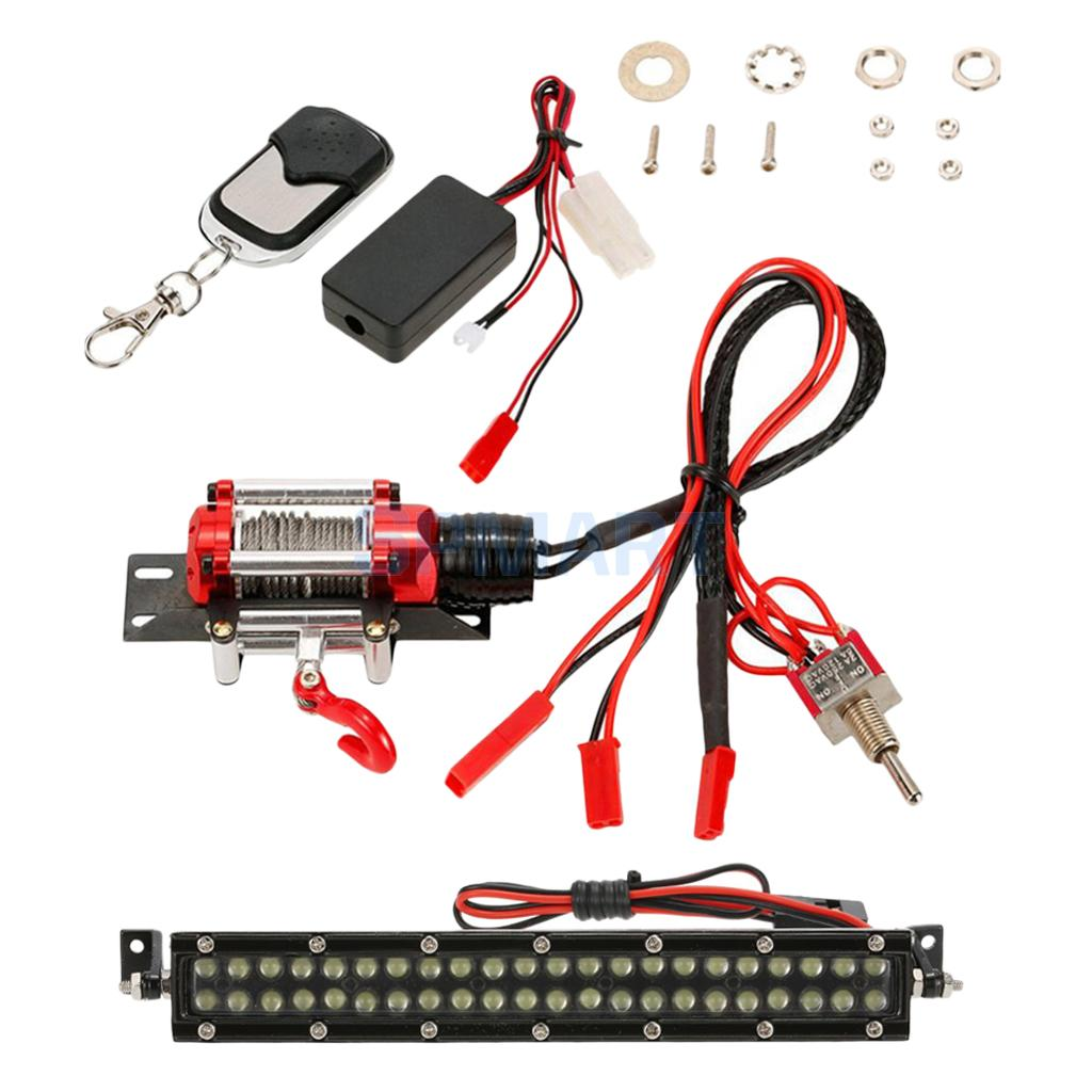 Automatic Traction Winch w/ Wireless Controller+White LED Light Bar for 1/10 Traxxas RC4WD D90 HSP RC Car