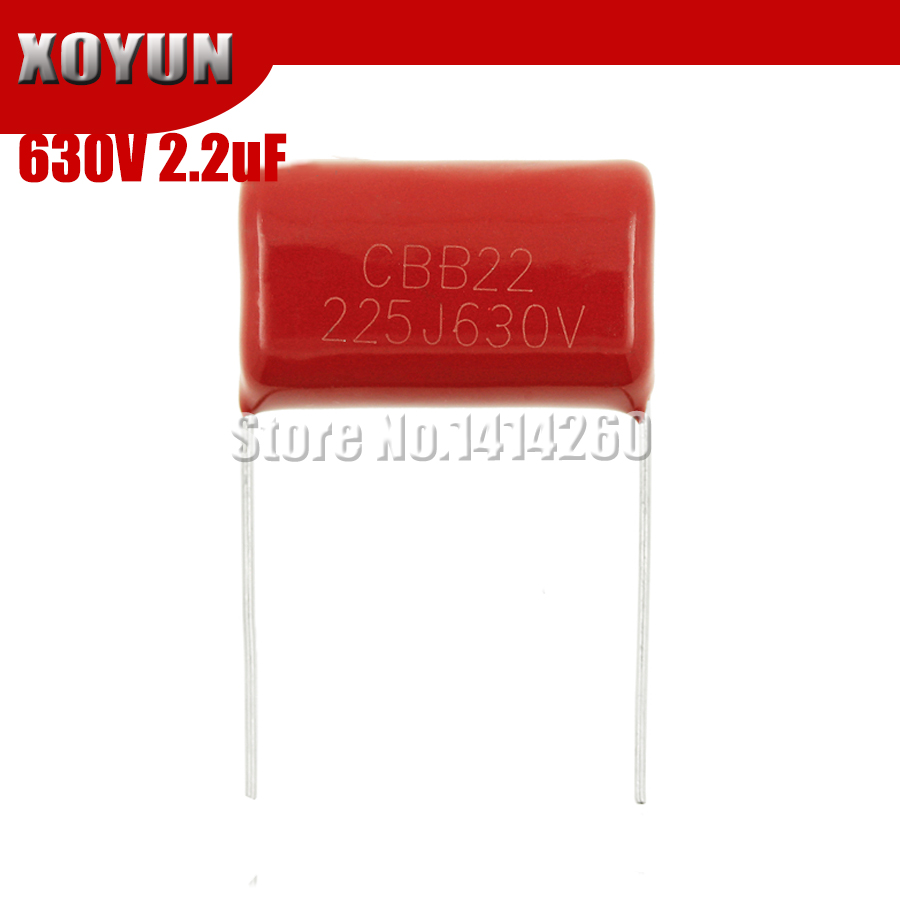 10PCS 630V225J Pitch 25MM 2.2UF 2200NF 225 630V CBB Polypropylene Film Capacitor