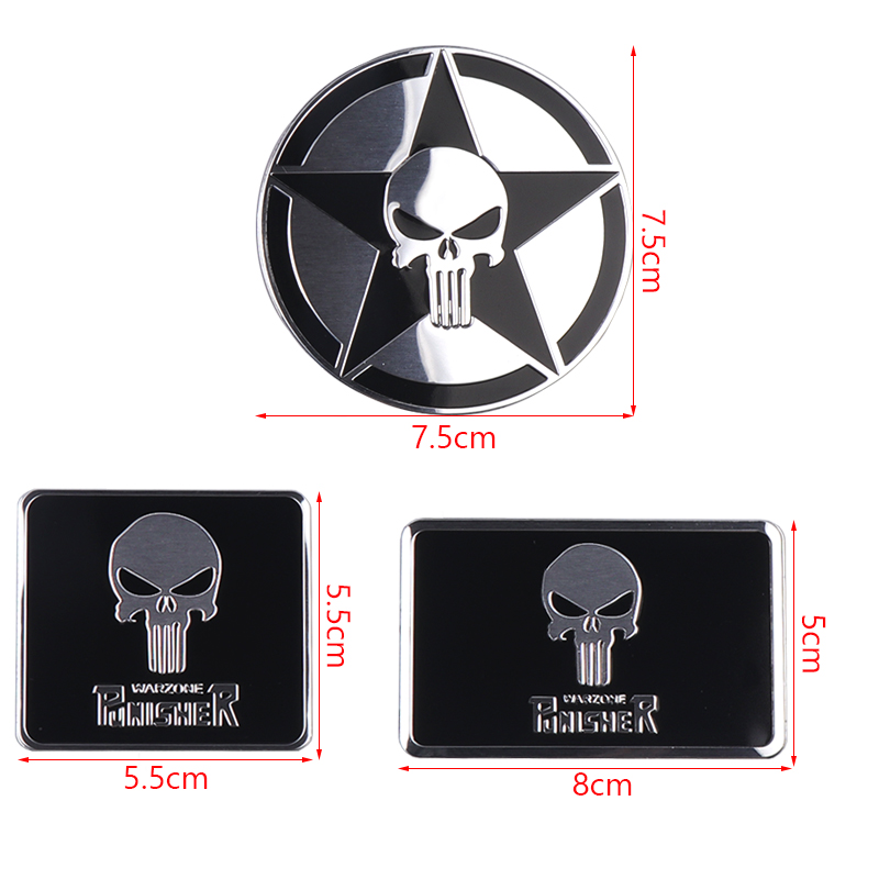 Image 2 - The Punisher Skull Warzone 3D Aluminum alloy Car Auto Badge Motorcycle Sticker Emblem Logo Automobile Tuning Car Styling-in Car Stickers from Automobiles & Motorcycles