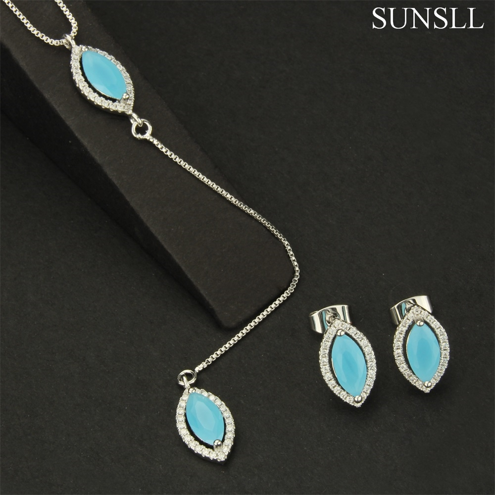 SUNSLL Two Color Copper Multicolor Glass Cubic Zirconia Stud Earrings And Pendant Necklaces Women's fashion Jewelry Sets