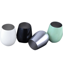 Stainless Steel Stemless Wine Glass Drinks Whisky Glasses Unbreakable Flat Foot Cup With Leak Resistant Picnic Cups