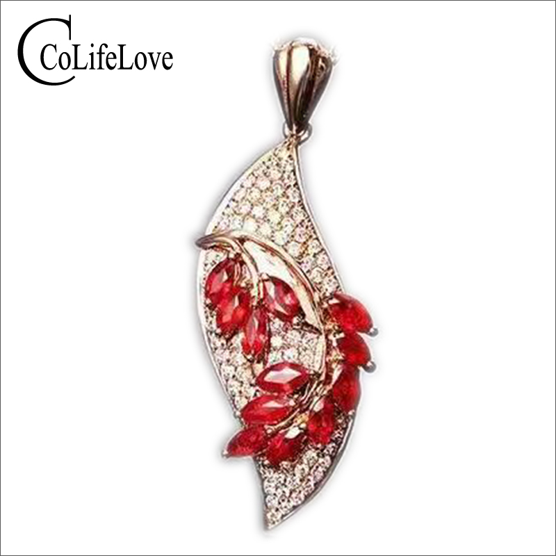 Fashion 925 silver ruby gemstone necklace pendant 12pcs 2ct natural blood red ruby silver pendant solid 925 silver ruby jewelry