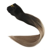 Full Shine Human Hair Extensions Clip In Balayage Ombre Clip Extensions Color 1B Dark Roots Fading