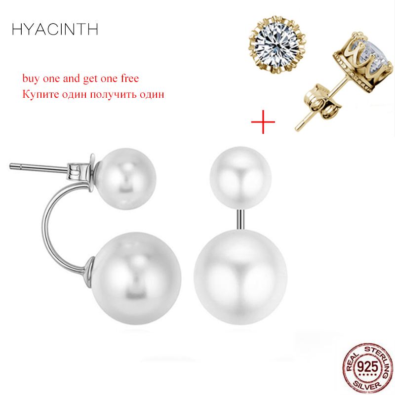 HYACINTH Real 925 Sterling Silver Big Small Pearl Earring Fashion Earrings With White Pearl For Women Luxury Jewelry S925 Gift