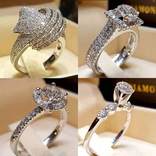 USTAR CZ crystals Knot Cross Promise Wedding Rings for women Retro Fashion jewelry silver Plated Engagement Rings Female Anel