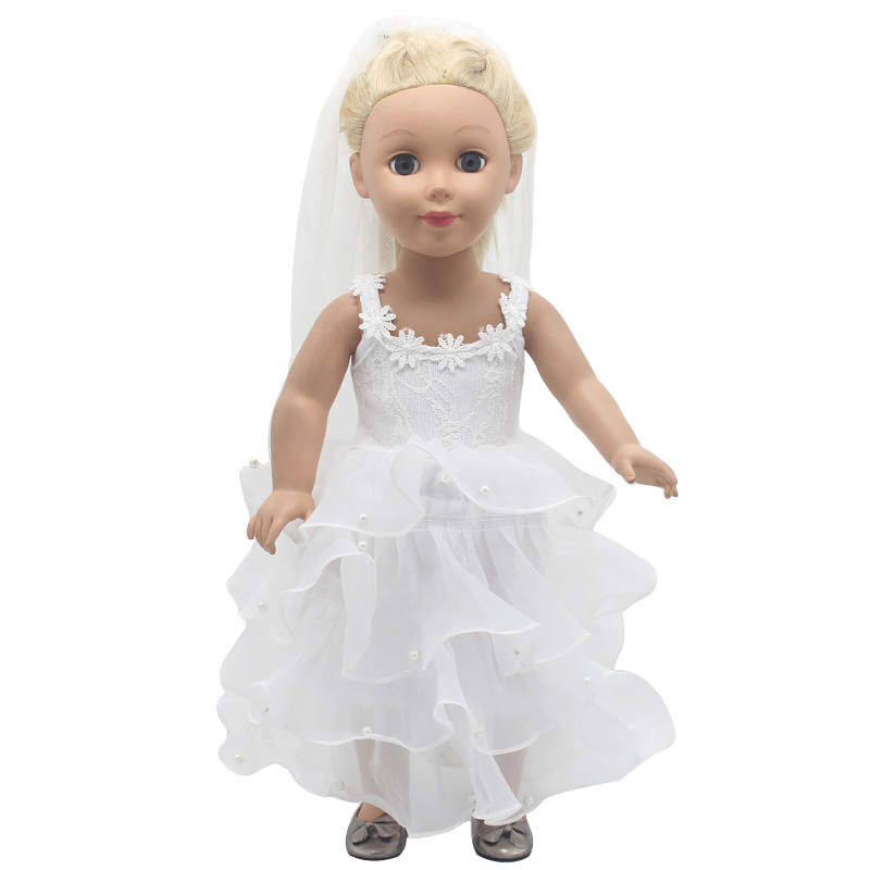 American Girl Doll Clothes White Wedding Bride Wedding Dresses For 16-18 inches Doll Alexander Dress Doll Accessories X-67