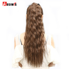 AOSIWIG Long Wavy Curly Ponytail Hairpiece Värmebeständigt syntetiskt hårstjärt Clip Long Ponytail Clip Hair