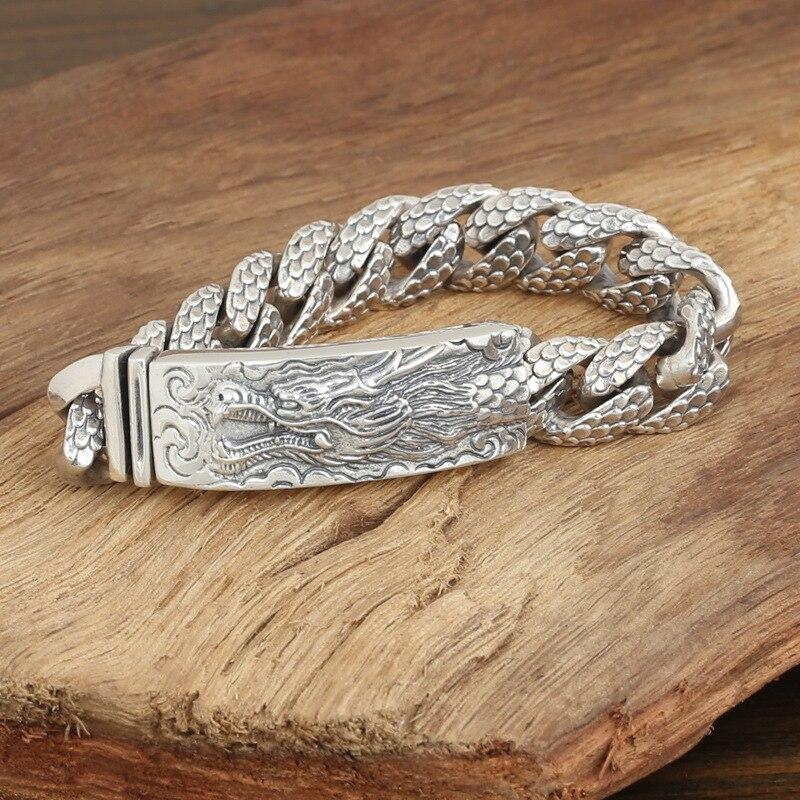 S925 Sterling Silver biżuteria męska moda Handmade osobowość Retro Thai srebrny ozdobny smok bransoletka i bransoletka Homme w Bransoletki i obręcze od Biżuteria i akcesoria na  Grupa 1