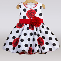 2018 Summer Sleeveless Dot Girls Dresses For Kids Birthday Party Dress Children Clothes Kids Princess Clothes