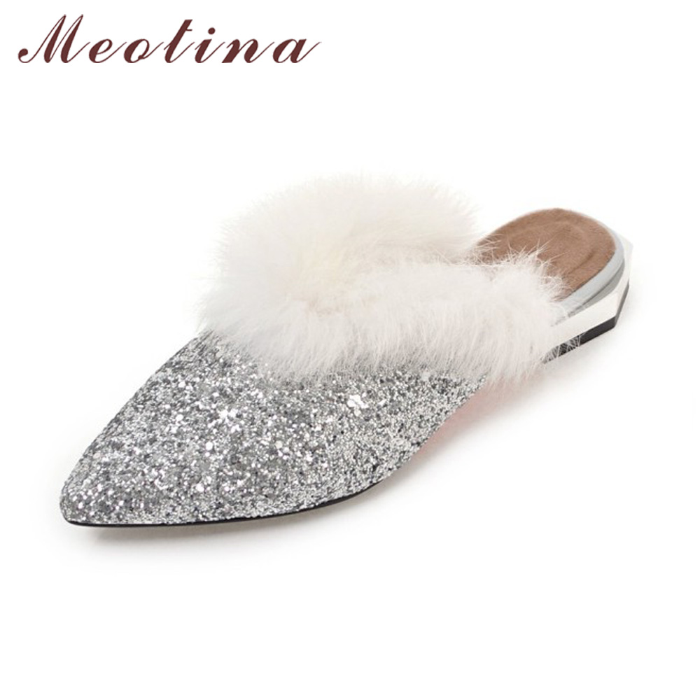 Meotina Bling Mules Winter Women Flats 2018 Shoes Slippers Fur Shoes Pointed Toe Ladies Flat Slides Gold Sliver Big Size 42 43 big size footwear woman flats shoes bling beads pointed toe boat shoes for women black solid fashion soft sole ladies shoe 43