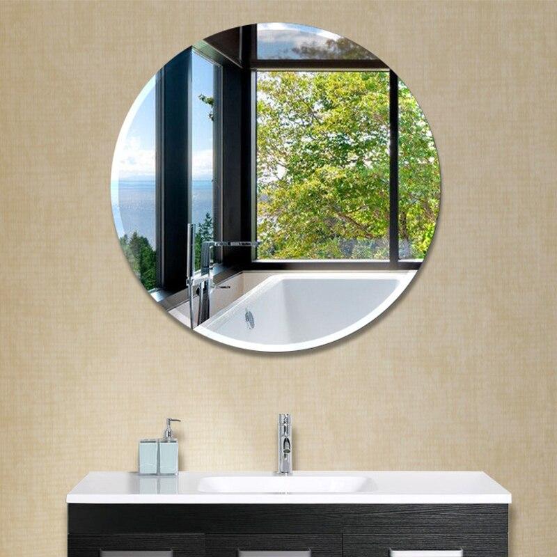 Free Shipping Small Frameless Beveled Round Wall Mirror Bathroom