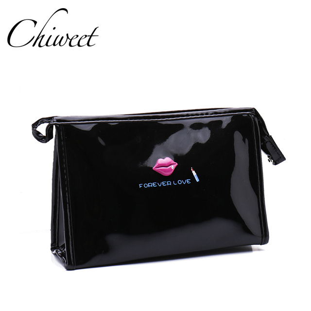a3ef532426 Women Luxury Cosmetic Bag Designer Brand Pouch MakeUp Bag Ladies Cute  Cartoon Lips Clutch Wash Bag Waterproof Bag Large Travel