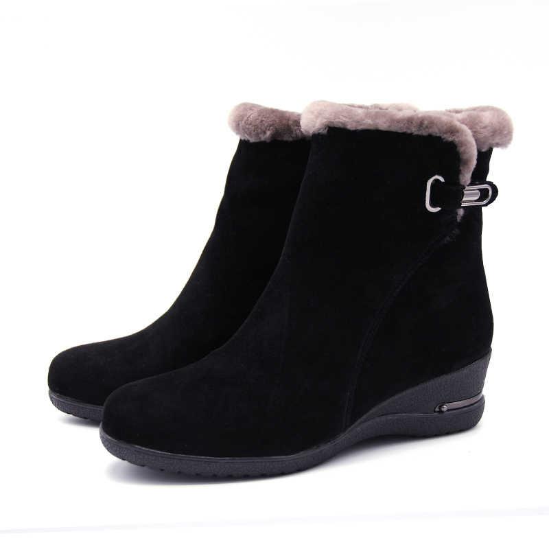 Обувь зимние ботинки теплые шерстяные зимние ботинки из коровьей кожи женская обувь 2018 г. Женские нескользящие ботинки из натуральной кожи на танкетке размера плюс