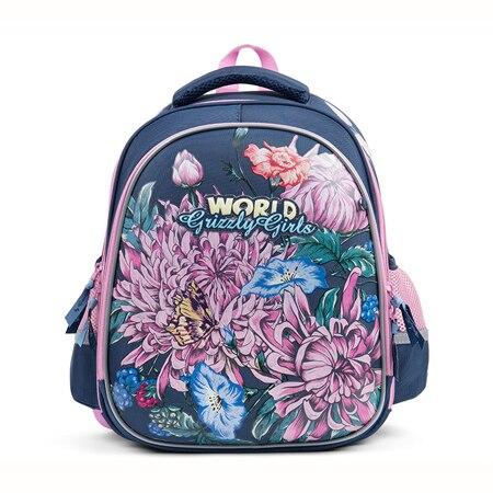 GRIZZLY rosja styl motyl dzieci torby szkolne wodoodporne ortopedyczne plecak dziewczyny kwiat koty w szkole podstawowej plecak w Torby szkolne od Bagaże i torby na  Grupa 2
