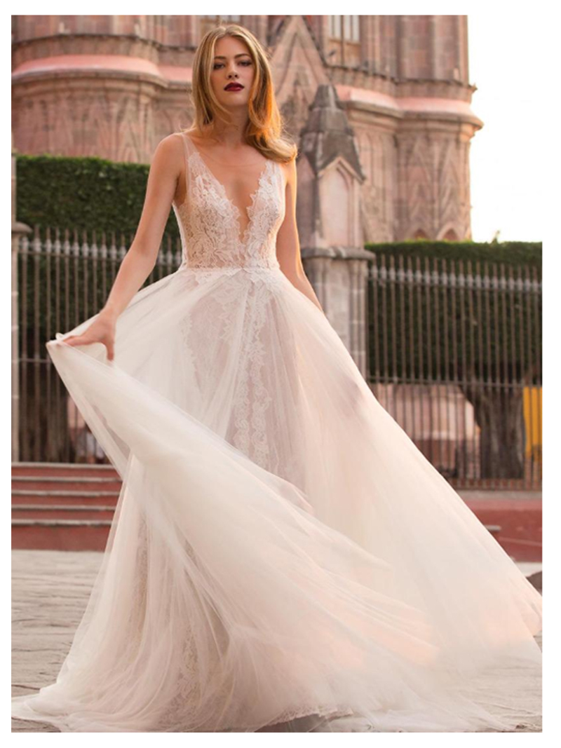LORIE Beach Wedding Dress 2019 See Through Appliques Lace Tulle A-Line Custom Made Princess Wedding Gown Tulle  Bridal Dress