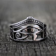 Retro Mens Silver Color Egypt Eye of Horus Ankh Cross Symbolic Band Rings Women Amulet Jewelry Gift