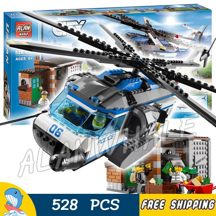528pcs City Police Crook Helicopter Surveillance 10423 Model Building Blocks Figures Boys Kids Toys Bricks Compatible With lego police оправа медицинская police опр мед police 506 528