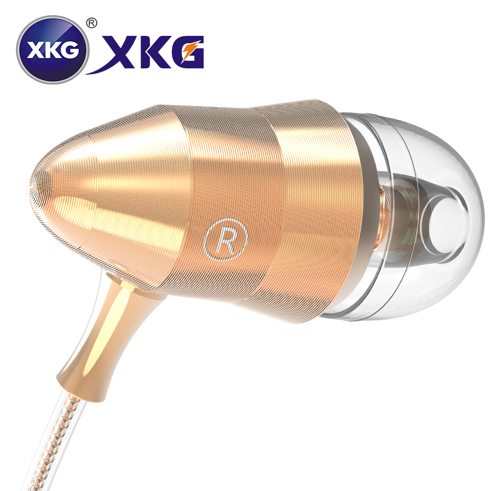 XKG In Ear Gold Earphones 3.5mm Heavy Bass Stereo Earbuds With Microphone Hifi Earphones For SmartPhone Tablet PC Mp3 Earpiece 3 5mm heavy bass stereo earphone for nokia 6700 classic gold edition earbuds headsets with microphone metal in ear earphones