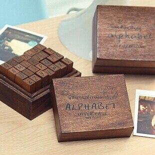 28pcs/set DIY Seal Scrapbooking Stamp Vintage Wood Rubber Alphabet Stamp Diary Handwritten Cursive Case Optional Ink Pad Stamp sizzix thinlits die set 7pk handwritten love