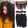 8a Deep Curly Unprocessed Brazilian Hair With Lace Frontal Deep Wave Brazilian Hair With Frontal 4 Bundles With Frontal Closure