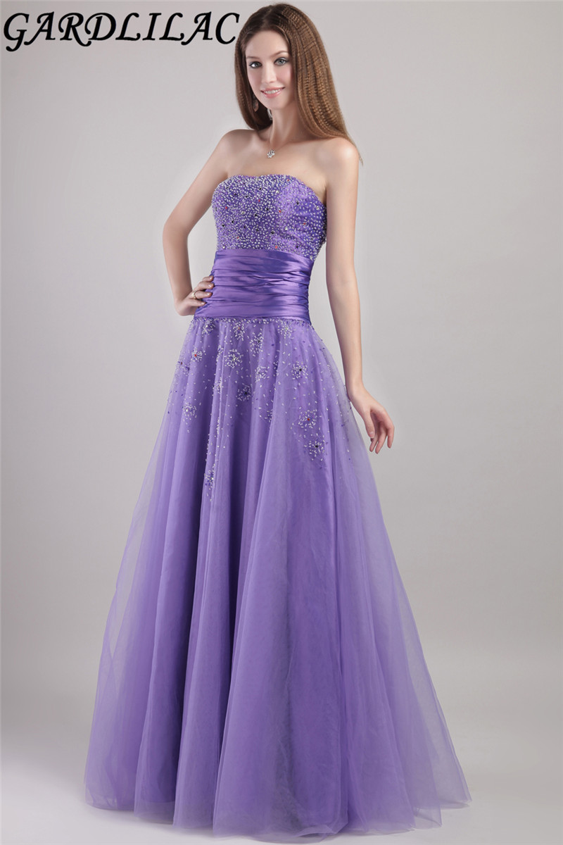 Elegant A Line Strapless Bridesmaid Dresses Purple Tulle Wedding Party Dress with beading 2017 Robe demoiselle honneur