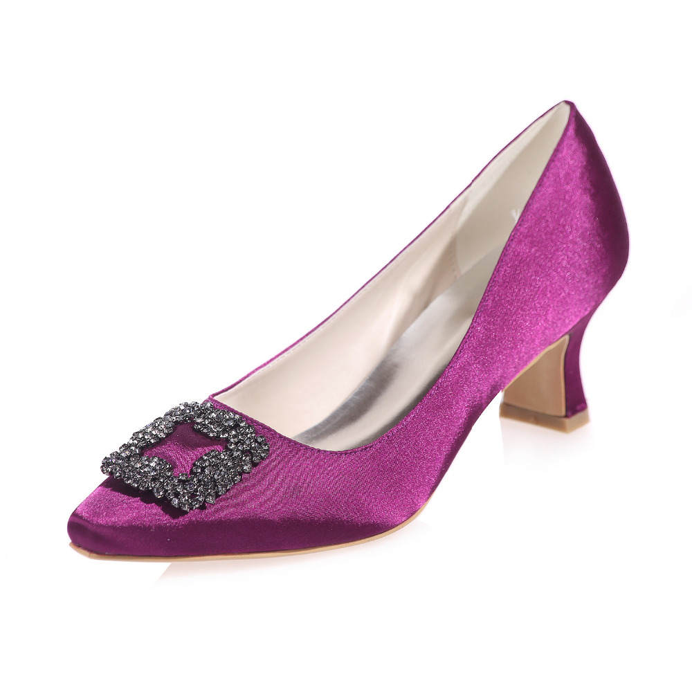 Aliexpress.com : Buy Elegant purple low hoof heel with crystal ...