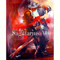 Hand Painted High Quality Abstract Tango Dancer Dancing Living Room Artwork Oil Painting Canvas Wall Decoration Fine Art