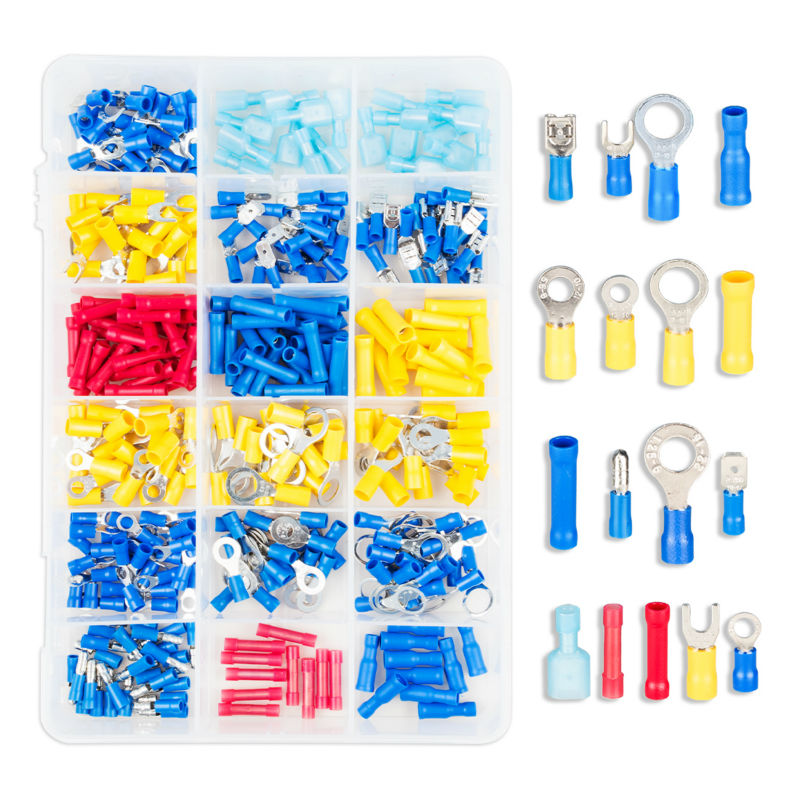 ФОТО 360pcs Assorted Female/ Male Insulated Terminals Fork U-type Assortment Kit Electrical Crimp Connector Spade Ring Set