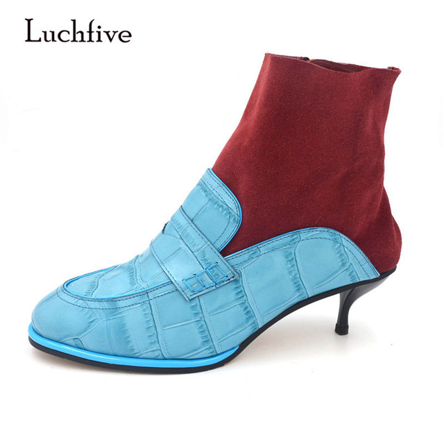 Luchfive Retro Preppy Style Crocodile Print Ankle Boots For Women Patchwork Cow Suede Side Zipper Kitten Heel Sock Booties