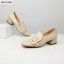 NEMAONE Fashion genuine leather square toe high heels women pumps square heel shoes wedding shoes woman girls shoes